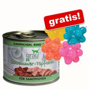 6 x 200g Grau Schlemmertöpfchen + 4 gratis Noppenbälle ab 7,99€ + Versand