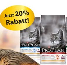 20% Rabatt auf das gesamte Pro Plan Cat Katzenfutter-Sortiment