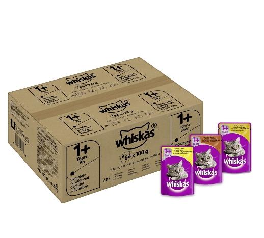 Whiskas 1+ Katzenfutter Fisch und Fleischauswahl 84 Beutel für 16,98€