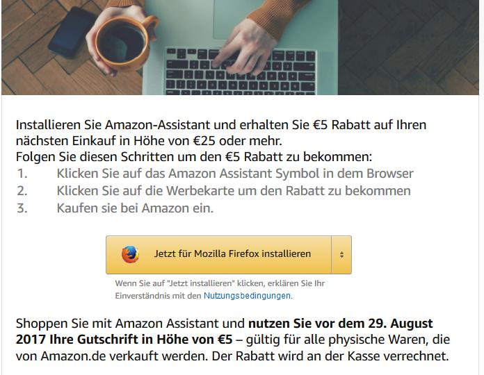 Amazon Addon Browser-Addon installieren und 5€ (MBW 25€) Gutschrift erhalten